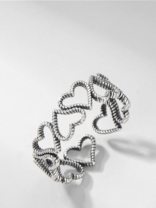 Heart to heart ring 925 Sterling Silver Heart Vintage Band Ring