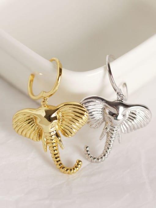 ACE 925 Sterling Silver Elephant Artisan Huggie Earring 1