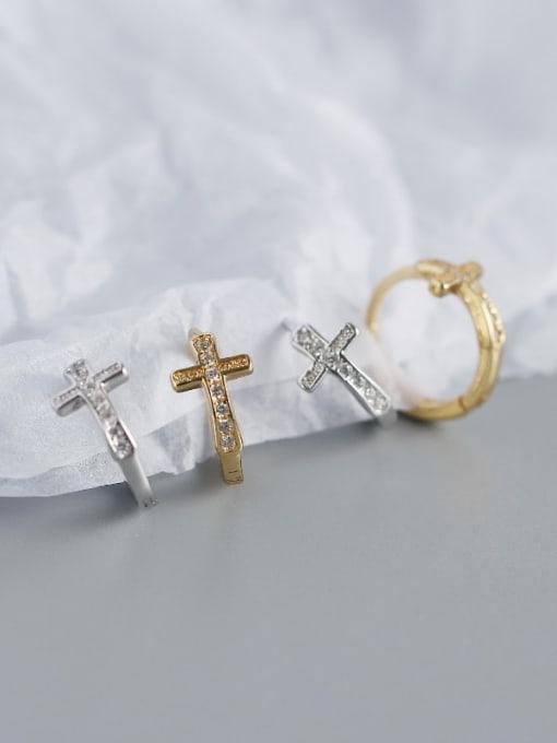 ACE 925 Sterling Silver Cubic Zirconia Cross Minimalist Huggie Earring 2