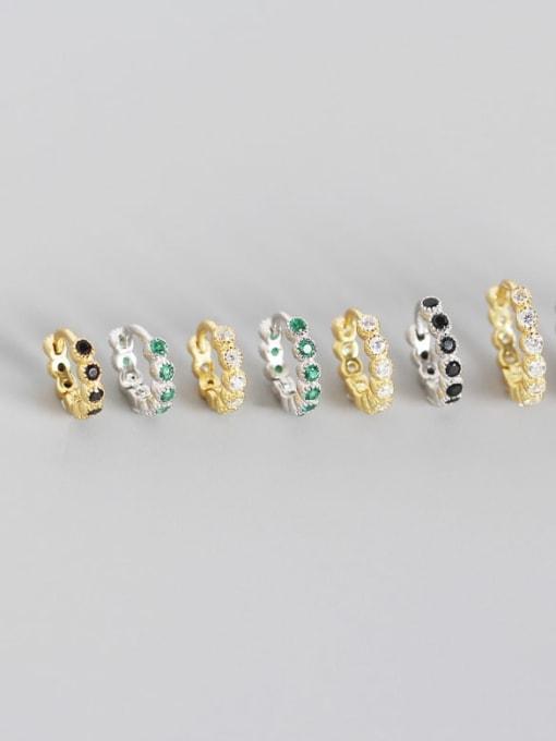ACE 925 Sterling Silver Cubic Zirconia Geometric Minimalist Huggie Earring 2