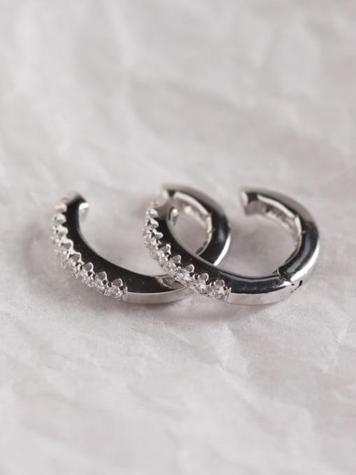 1#Platinum 925 Sterling Silver Rhinestone White Geometric Dainty Clip Earring