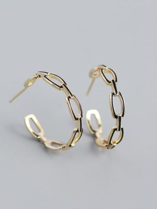 Golden 925 Sterling Silver Cubic Zirconia Geometric Minimalist Hoop Earring
