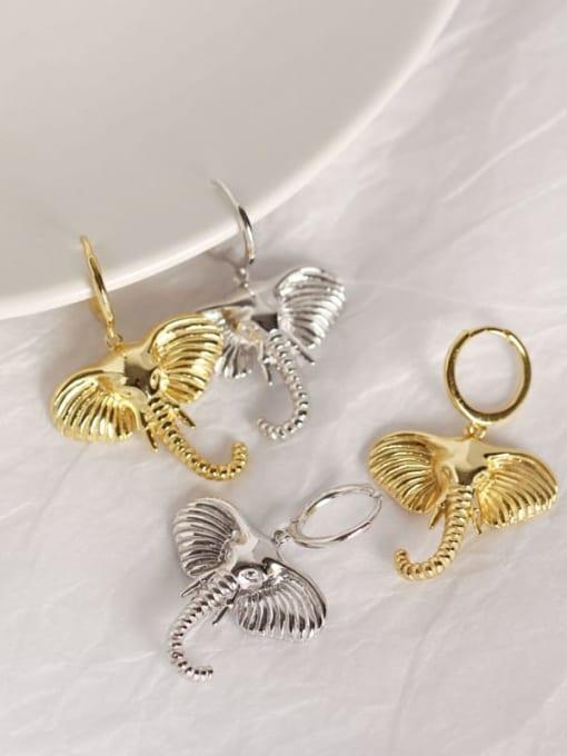 ACE 925 Sterling Silver Elephant Artisan Huggie Earring 3