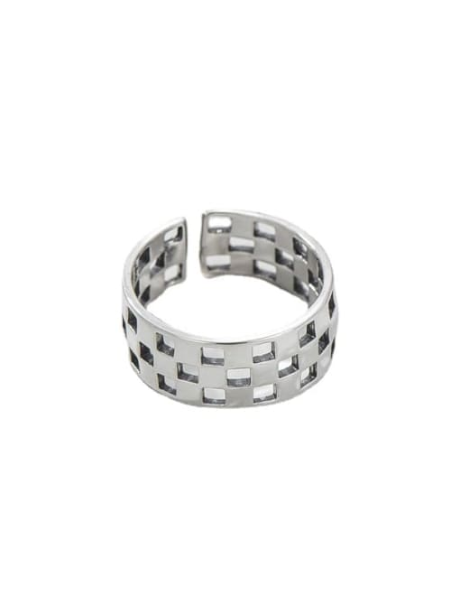 Hollow ring 925 Sterling Silver Geometric Vintage Band Ring