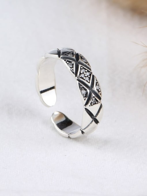 ACE 925 Sterling Silver Cubic Zirconia White Vintage Geometric Band Ring