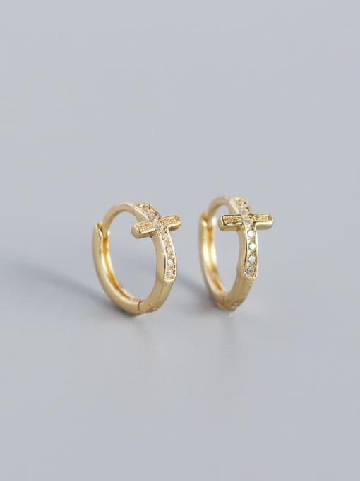 Golden 925 Sterling Silver Cubic Zirconia Cross Minimalist Huggie Earring