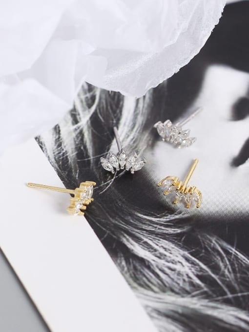 ACE 925 Sterling Silver Cubic Zirconia Leaf Artisan Stud Earring 3