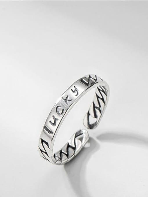 Strap ring 925 Sterling Silver Letter Vintage Band Ring