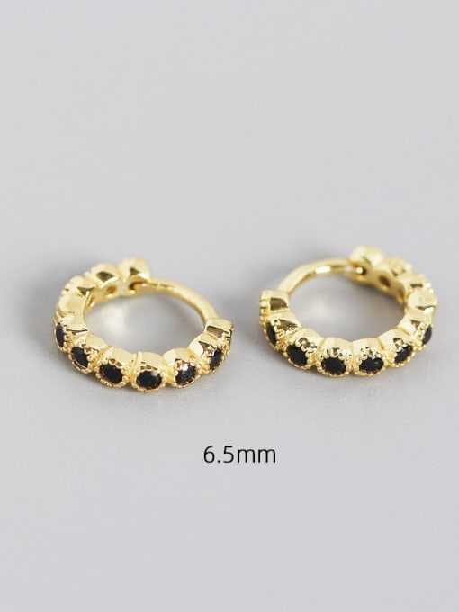 6.5mm gold black stone 925 Sterling Silver Cubic Zirconia Geometric Minimalist Huggie Earring
