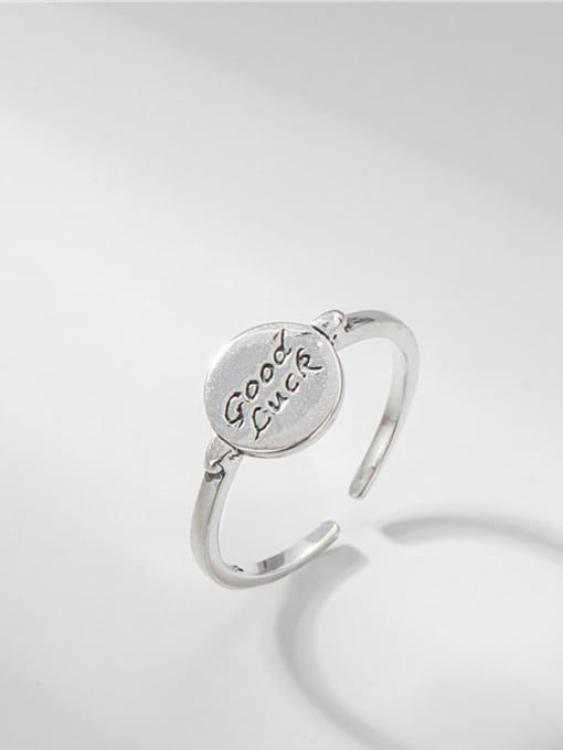 Lucky round ring 925 Sterling Silver Letter Vintage Lucky Round  Band Ring