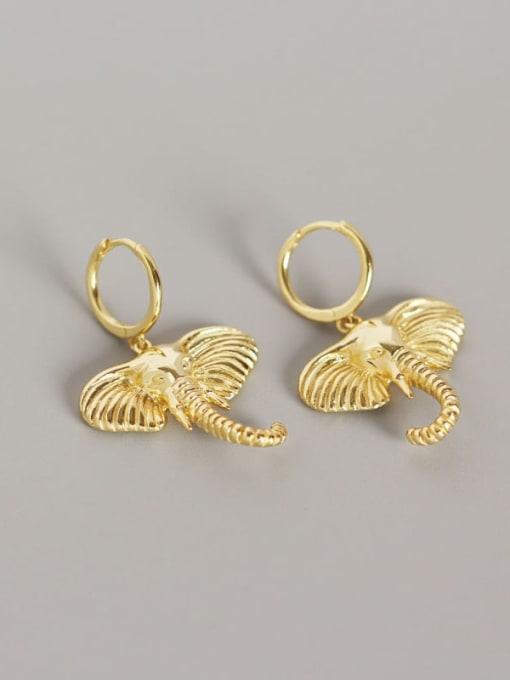 Gold 925 Sterling Silver Elephant Artisan Huggie Earring
