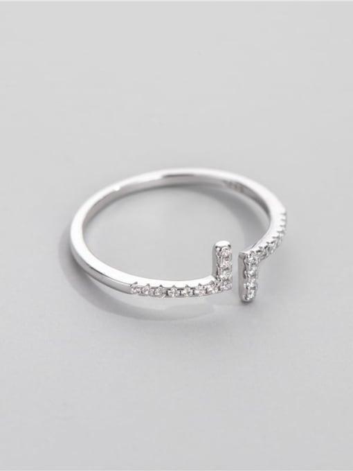 ARTTI 925 Sterling Silver Cubic Zirconia Geometric Minimalist Band Ring 1