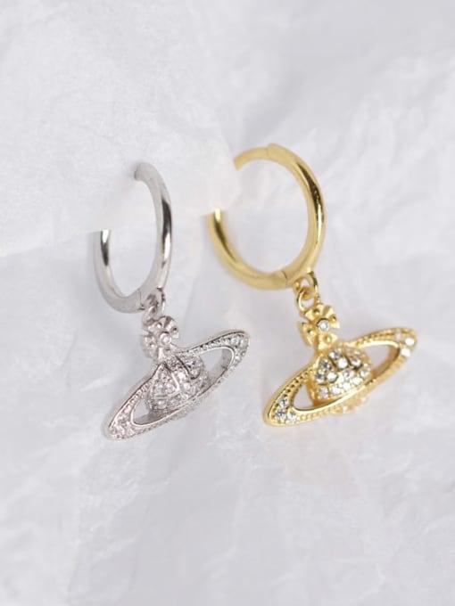 ACE 925 Sterling Silver Rhinestone White Ball Cute Huggie Earring 1