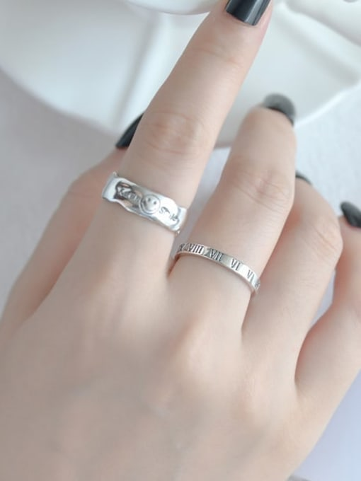ARTTI 925 Sterling Silver Smiley Letter Vintage Band Ring 1