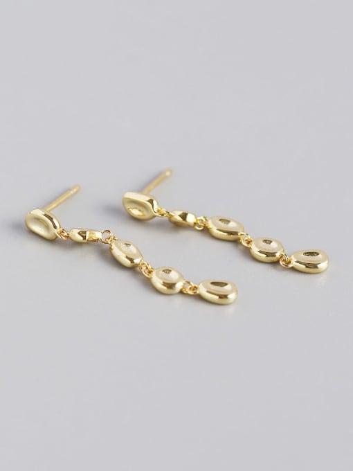 Gold 925 Sterling Silver Cubic Zirconia Geometric Artisan Drop Earring