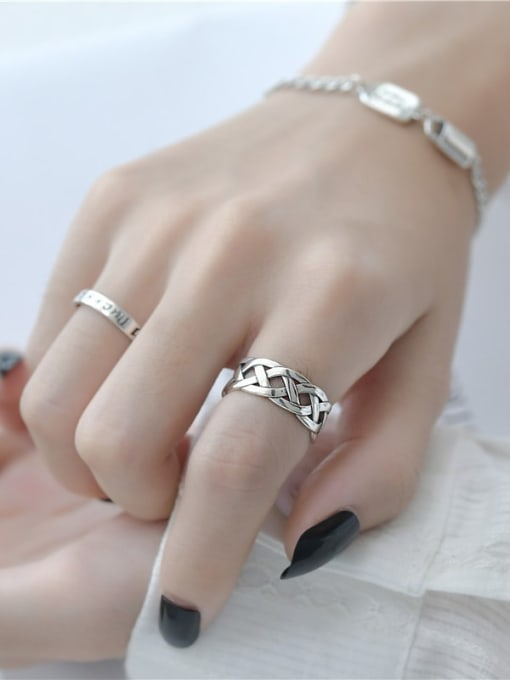 ARTTI 925 Sterling Silver Letter Vintage Band Ring 1
