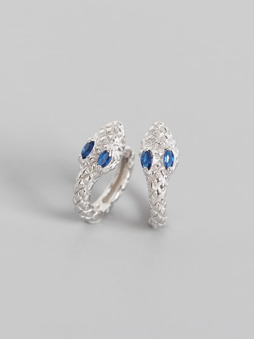 White Gold Blue Stone 925 Sterling Silver Cubic Zirconia Snake Vintage Huggie Earring