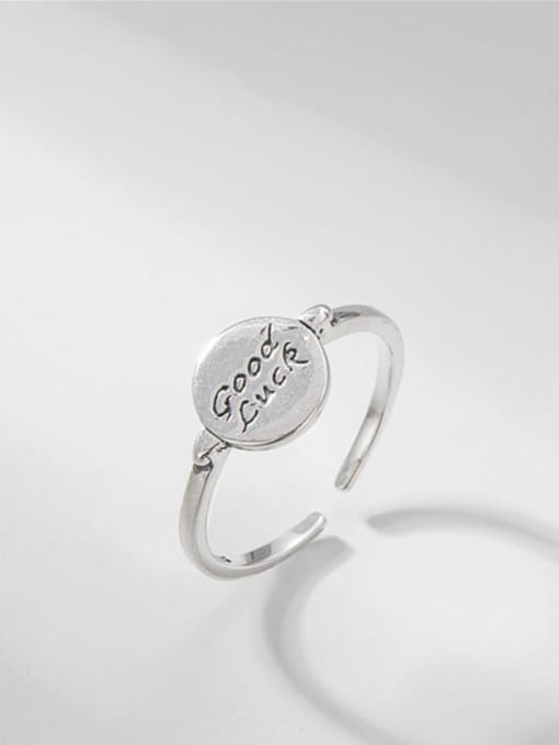 ARTTI 925 Sterling Silver Letter Vintage Lucky Round  Band Ring