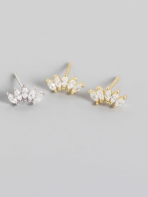 ACE 925 Sterling Silver Cubic Zirconia Leaf Artisan Stud Earring