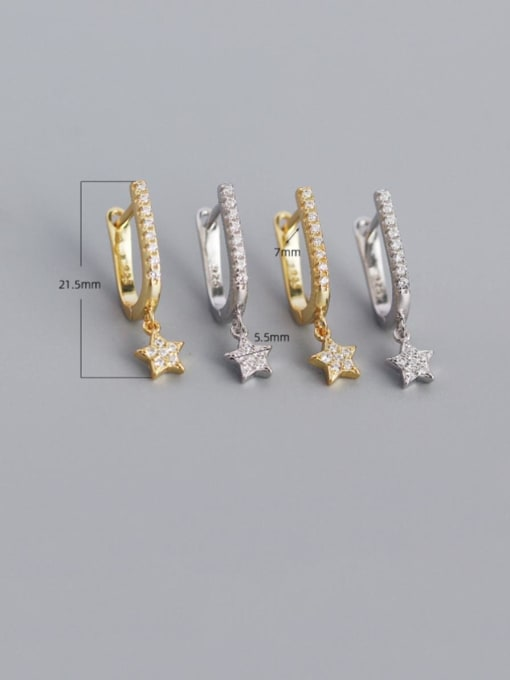 ACE 925 Sterling Silver Cubic Zirconia Star Minimalist Huggie Earring 2