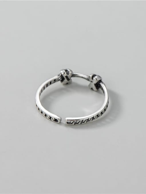 ARTTI 925 Sterling Silver  Vintage Knotted Chain Band Ring 2