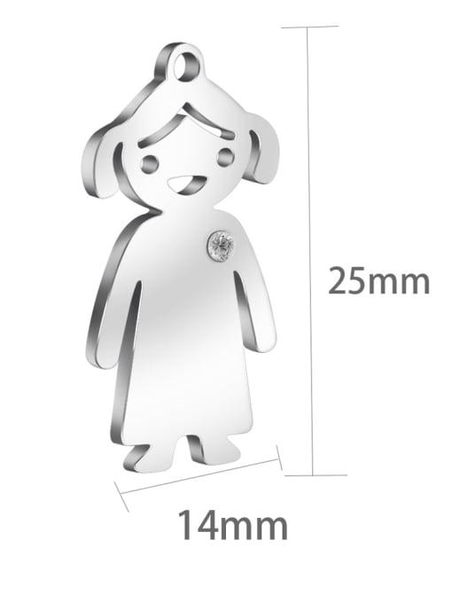 Supply 304L Steel Boy or Girl Pendant, Width:14mm,Height:25mm 2