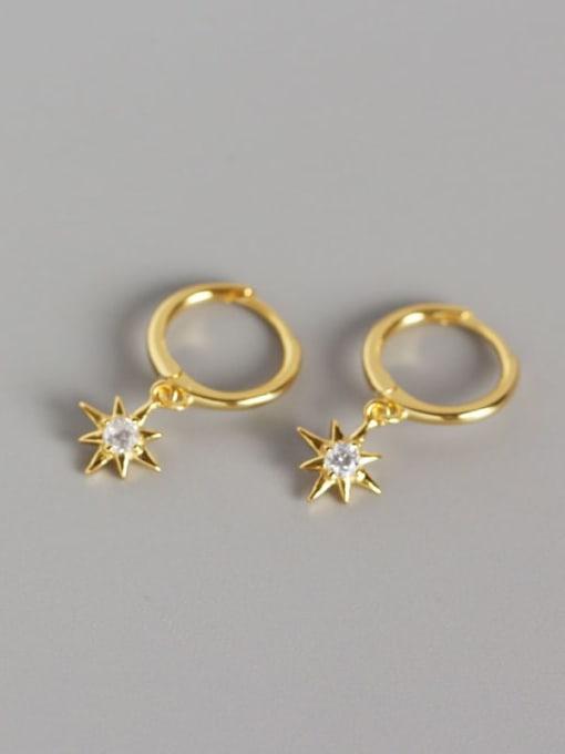 2#Gold 925 Sterling Silver Rhinestone White Star Minimalist Huggie Earring