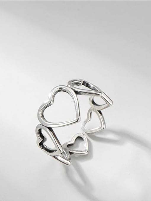 Love ring 925 Sterling Silver Hollow Heart Vintage Band Ring