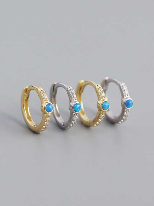 ACE 925 Sterling Silver Opal Geometric Vintage Huggie Earring 2