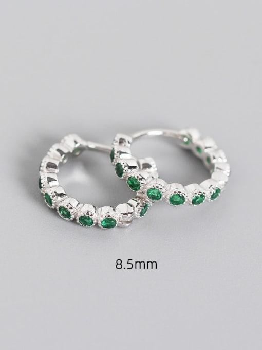 8.5mm platinum chlorite 925 Sterling Silver Cubic Zirconia Geometric Minimalist Huggie Earring