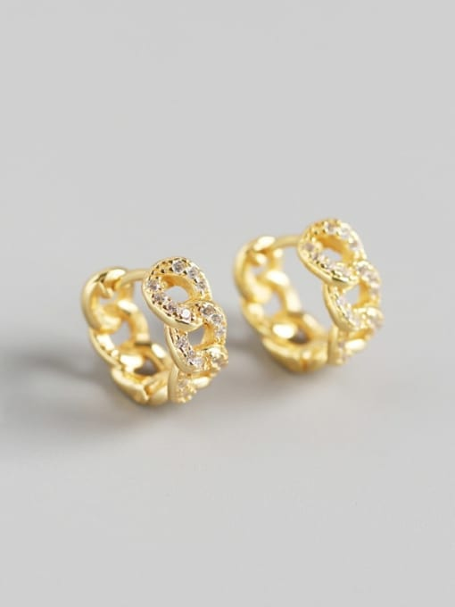 Golden 925 Sterling Silver Cubic Zirconia Geometric Vintage Huggie Earring
