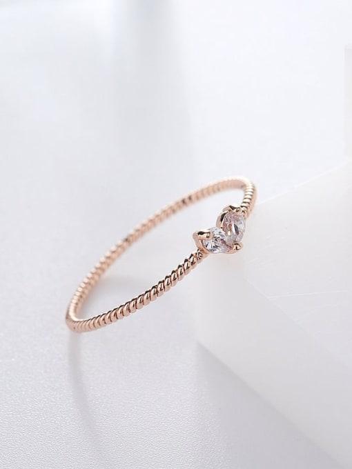 Ming Brass Cubic Zirconia Heart Minimalist Band Ring 2