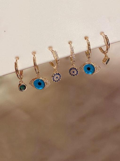 Ming Brass Cubic Zirconia Evil Eye Minimalist Huggie Earring 1