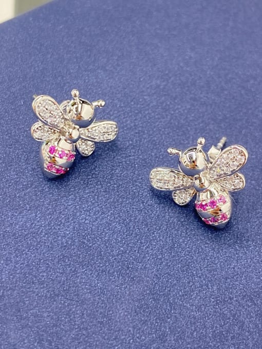 LM 925 Sterling Silver Cubic Zirconia Cluster Earring 2