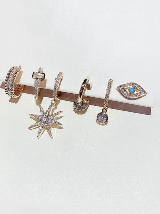 Ming Brass Rhinestone Irregular Minimalist Huggie Earring 1