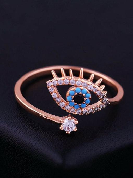 Ming Brass Cubic Zirconia Evil Eye Ethnic Band Ring