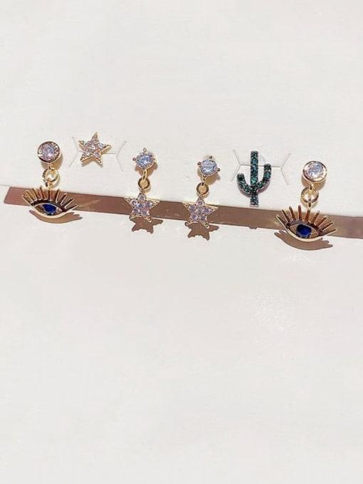 Ming Brass Rhinestone Evil Eye Minimalist Huggie Earring