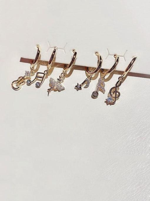 Ming Brass Cubic Zirconia Geometric Minimalist Huggie Earring 0