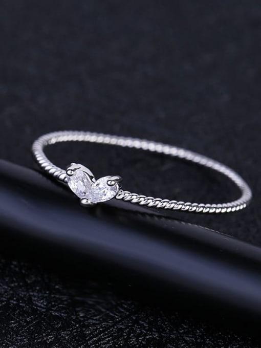 Ming Brass Cubic Zirconia Heart Minimalist Band Ring