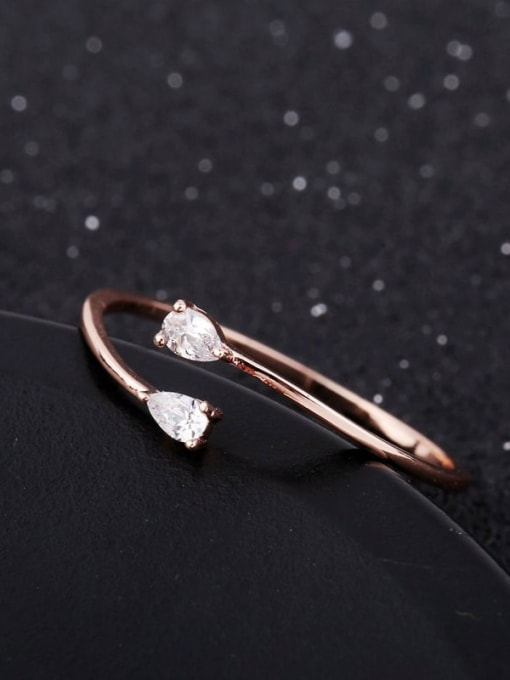 Ming Brass Cubic Zirconia Water Drop Minimalist Band Ring 2