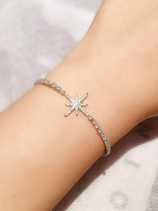Ming Brass Cubic Zirconia Flower Ethnic Link Bracelet 3