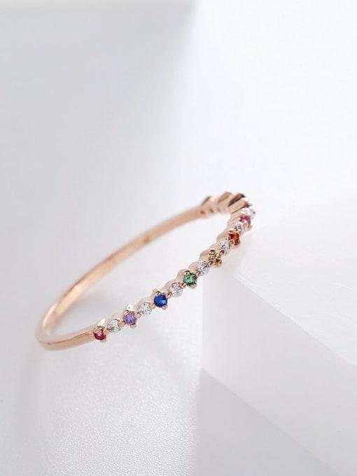 Ming Brass Cubic Zirconia Multi Color Geometric Minimalist Band Ring 2