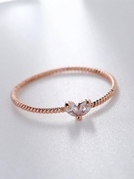 rose gold Brass Cubic Zirconia Heart Minimalist Band Ring