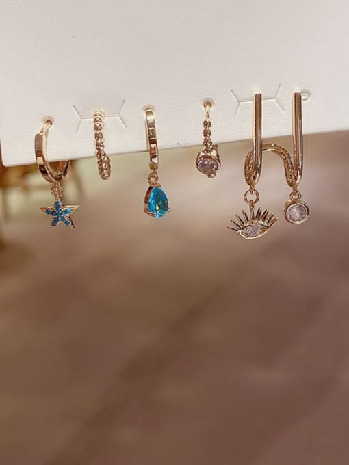 Ming Brass Rhinestone Water Drop Minimalist Huggie Earring 1