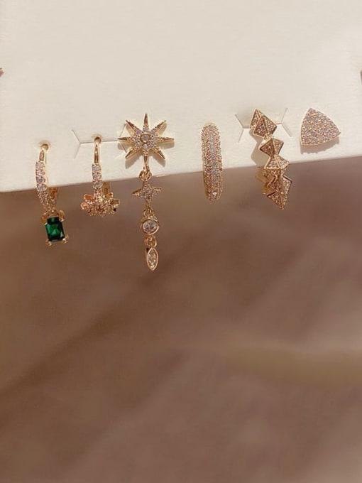 Ming Brass Cubic Zirconia Minimalist Geometric star  6 piece set Stud Earring 1