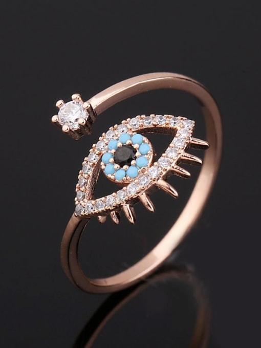 Ming Brass Cubic Zirconia Evil Eye Ethnic Band Ring 3