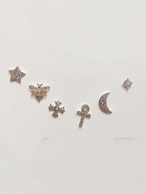 Ming Brass Rhinestone Star Minimalist Stud Earring 1