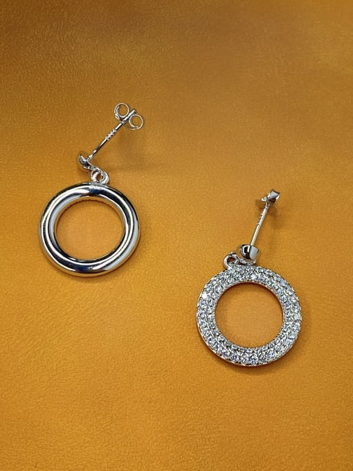 LM 925 Sterling Silver Cubic Zirconia Cluster Earring 1