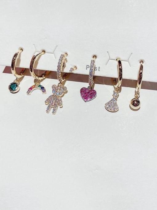 Ming Brass Cubic Zirconia Heart Cute Huggie Earring