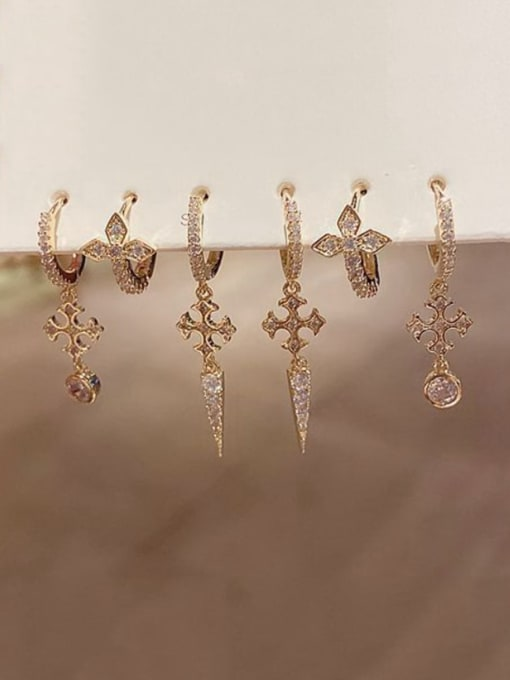 Ming Brass Rhinestone Cross Ethnic Huggie Earring 1